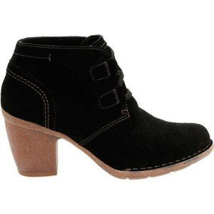 CLARKS Carleta Black Suede Lace up Boots